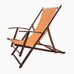Silla de playa plegable Mid-Century regulable, años 50