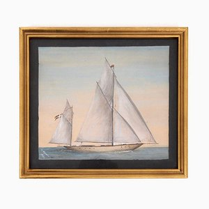 Antique Danish Ship Painting, 1906