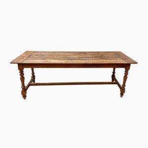 Vintage Oak Table with Turned Feet, 1940s