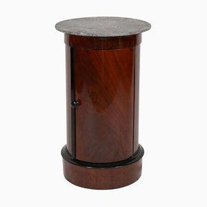 Biedermeier Drum Table in Polished Mahogany and Marble, France, 1830s
