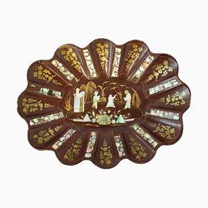 Chinoiserie Schale und Schale aus roter Pappmaché Schale mit ovaler Intarsie, 19. Jh