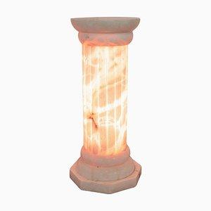 Art Deco Alabaster Stehlampe Säule, 1920er