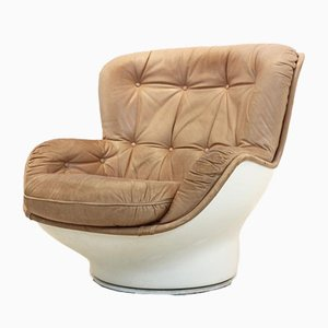 Karate Lounge Chair in Fiberglass and Cognac Leather by Michel Cadestin for Airborne International, 1970s