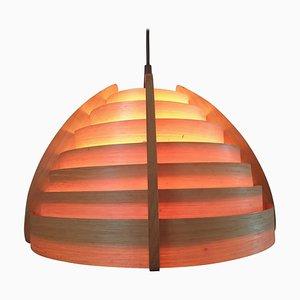 Mid-Century Wood Veneer Pendant Lamp in the Style of Hans-Agne Jakobsson, Denmark, 1970s