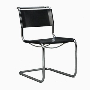 Black Leather S33 Cantilever Chair by Mart Stam for Thonet, 1980s