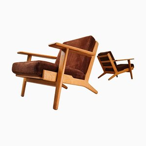Danish GE290 Oak Framed Armchairs by Hans J. Wegner for Getama, 1950s, Set of 2