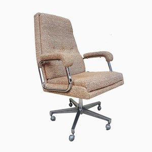 Mid-Century Modernist Chrome Office Swivel Chair by Frank Doerner