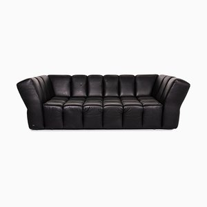 Chocolate Black Leather 4-Seat Sofa from Bretz