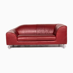 Red Leather 2-Seat Sofa from Koinor