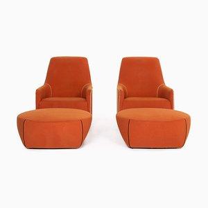 Orange Fabric Portofino Armchairs & Stools by Rodolfo Dordoni for Minotti, Set of 4