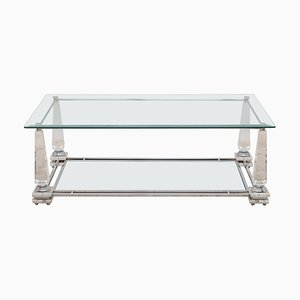 Hollywood Regency Rectangular Lucite Obelisk Coffee Table, 1976
