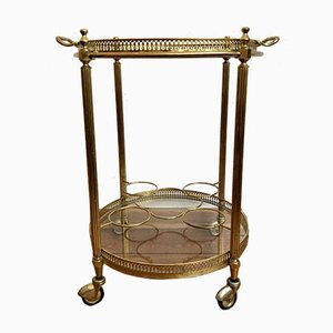 Round Neoclassical Style Brass Bar Trolley with Glass Trays, 1960s