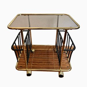 Golden Serving Trolley with 2 Newspaper Compartments, 1960s
