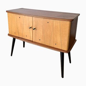 Wooden Chest of Drawers with One Cabinet Compartment, 1950s