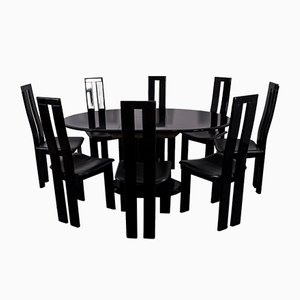 Mid-Century Black Dining Room Chairs & Table Set