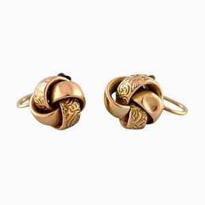 Scandinavian Ear Studs in 14 Carat Gold, Set of 2
