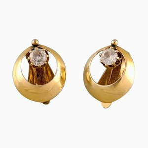 Scandinavian 14 Carat Gold Ear Clip Earrings, Set of 2