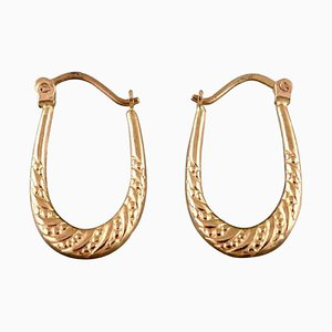 Boucles d'Oreilles Scandinaves en Or 8 Carats en Forme de Cheval, Set de 2