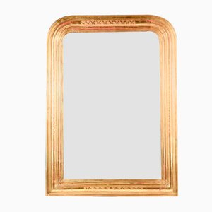 French Mirror in Gilded Wood with Rounded Corners, 1800s