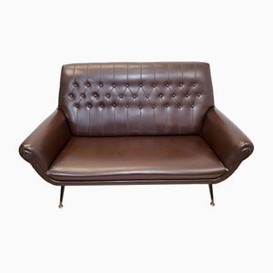 Italian Faux Leather 2-Seat Sofa-Bed by Gigi Radice, 1960s