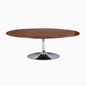 Czech Bauhaus High Gloss Lacquer, Chrome & Walnut Oval Table from Kovona, 1960s