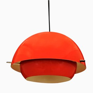 Mid-Century Danish Red Plastic Ceiling Lamp, 1970s