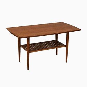 Small Mid-Century Teak & Beech Coffee Table with Teak Lattice Under Tier, 1950s