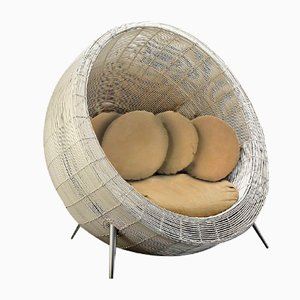 White Outdoor Champion Chair with Sand Colored Cushion from Vgnewtrend