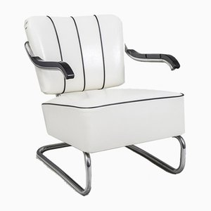 Tubular Chrome and White Leather Cantilever Armchair from Mücke Melder, 1930s