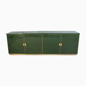 Italian Enameled Emerald Green and Brass Cabinet, 1970s