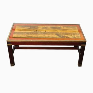 Mahogany Coffee Table with Map of London on Top, 1960s