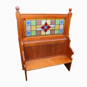 Pitch Pine Pew with Stained Glass Back, 1900s