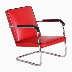 Art Deco German Red Tubular Armchair by Anton Lorenz for Thonet, 1930s
