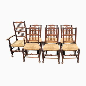 Oak Ladderback Chairs with Rush Seats, 1940s, Set of 7