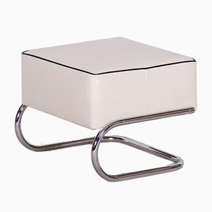 Modernist Chrome-Plated Steel and Ivory Leather Tubular Stool from Slezák, 1930s