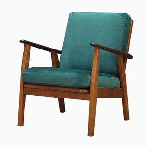Dänischer Grüner Mid-Century Sessel aus Teak & Velours, 1970er