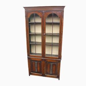Antique Oak 2-Door Leaded Display Cabinet, 1910s