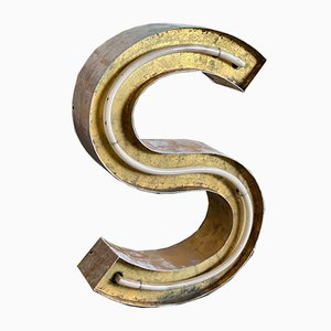 Vintage Gold Neon Letter S in Copper with Gold Leaf