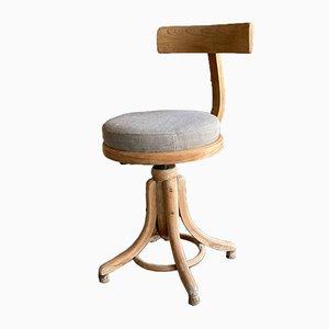 Antique Upholstered Bentwood Swivel Chair from Mücke Melder