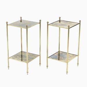 Brass Mirrored Side Tables from Maison Jansen, 1960s, Set of 2