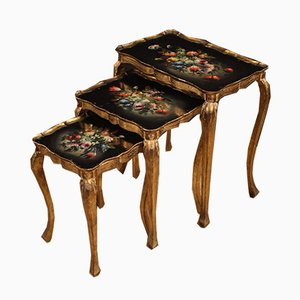 Italian Triptych Coffee Tables in Gilded and Painted Wood, 1960s, Set of 3
