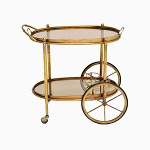 Vintage French Brass Drinks Trolley, 1950s