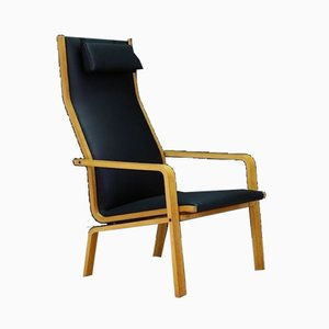 Mid-Century Danish Ash & Eco Leather Model 4335 Lounge Chair by Arne Jacobsen for Fritz Hansen, 1960s