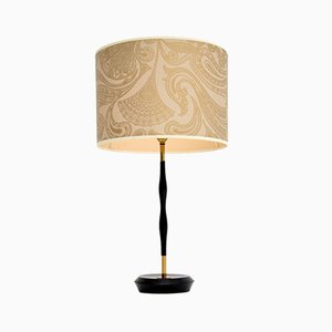 Vintage Ebonized Wood & Brass Table Lamp, 1960s
