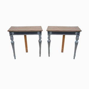 Antique Lacquered Console Tables, Set of 2
