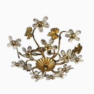 Vergoldete Vintage Kristallglas Blumen Deckenlampe, 1960er