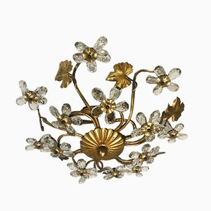 Vintage Crystal Gold Gilded Flower Flush Mount, 1960s