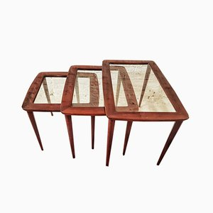 Polished Rosewood and Glass Nesting Tables, Italy, 1950s