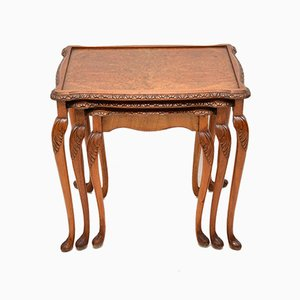 Vintage Burl Walnut Nesting Tables, 1930s