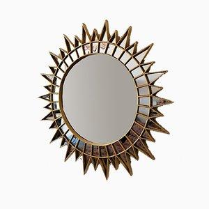 Large Mid-Century Peruvian Giltwood Starburst & Sunburst Wall Mirror from Latinex